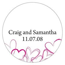 Contemporary Hearts Personalized Round Stickers Wedding Favors Envelope Seals