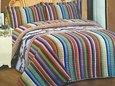 Full Queen King Western Galloping Horses Quilt Set Stripes Cowboy Quilt & Shams