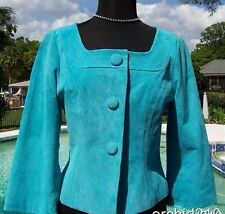 Cache Leather Suede Lined Jacket Top New XS/S/M Mediterranean Blue $198 NWT