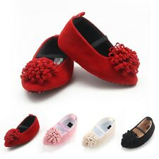 Suede Newborn Baby Girls Princess Shoes With Flower Soft Sole Prewalkers 0-18M