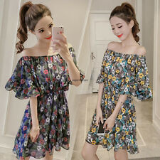 Elegant Women Sexy Off Shoulder Tunic Chiffon Floral Short Sleeve Pleated Dress