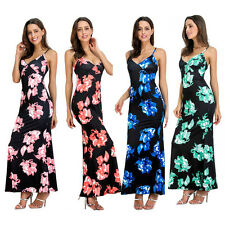 WOMEN SEXY SPAGHETTI STRAP V-NECK FLORAL BACKLESS PARTY LONG MAXI DRESS EARNEST
