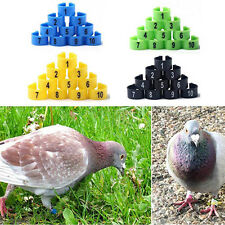 100Pcs Bird Poultry Chicks Plastic 1-100 Numbered Pigeon Leg Bands Rings Natural