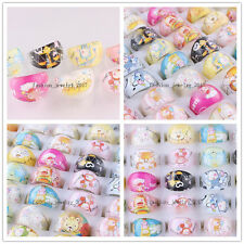 Newly Wholesale Mixed Lot Cartoon Children/Kids Resin Lucite Rings Xmas FREE