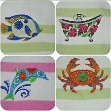 Personalized Embroidered COTTON BEACH TOWEL,  Select Summer Design, #B'day Gift
