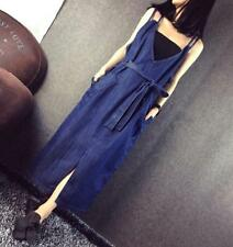 Womens Casual Plus Size Pockets Skirt Overall Jeans Maxi Denim Dresses Jumpsuits