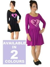 Womens Skater Dress By Playboy Casual Black Purple UK Size 8 10 12 14 16 NEW