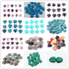 Lots 20Pcs Heart Natural Malachite Amethyst Agate Gemstone Silver P Pendant Bead