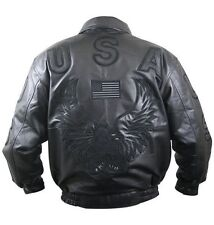 American USA Flag Eagle Men's Leather Bomber Jacket- Black