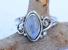 925 Sterling Silver Rainbow Moonstone Ring Size 4 5 6 7 8 9 10 11 size