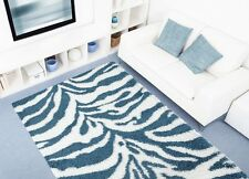 RUGS AREA RUGS CARPET FLOORING 230 TURQUOISE ZEBRA SHAG LARGE NEW AREA RUG