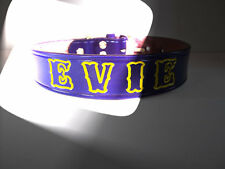 Personalized Dog Collar Purple Leather 3/4 inch wide