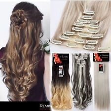 US Lady Full Head 8pcs 18clips Clip in on Hair Extensions Real thick synthetic