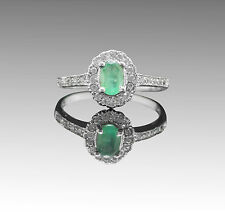 925 Sterling Silver Ring with Natural Green Emerald Oval Cut Gemstone eBay