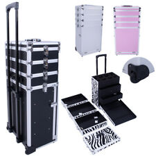 Pro 4in1 Aluminum Rolling Makeup Cosmetic Train Case Wheeled Box Trolley 4 Color
