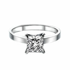 Solitaire Diamond Ring 14K White Gold Certified Promise Band 1.25 CTW G VS2 Ring