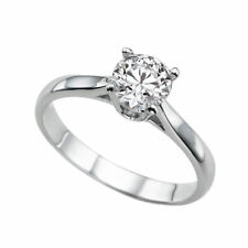 Solitaire Diamond Ring 14K White Gold Certified Promise Band 0.64 CTW H VS2 Ring