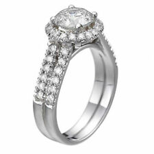 14K White Gold Engagement Ring 1.65 CTW G VS1 Halo Double Shank Ring Size 7 Ring