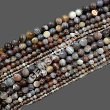 Grade AAA Natural  Faceted& Smooth Botswana Agate Gemstone Round Beads 15.5""