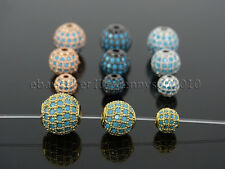 Zircon Gemstones Pave Turquoise Round Ball Bracelet Connector Charm Spacer Beads