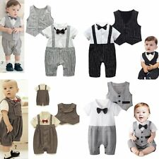 Baby Boy Wedding Christening Tuxedo Party Suit Outfit+Waistcoat Cloth Set 3-24M