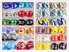Wholesale Mixed 12pcs Charm Helix Summer Style Gold Dust Murano Glass Rings FREE