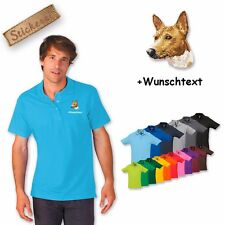 Polo Shirt Cotton Embroidered Embroidery Dog Basenji + Desired text