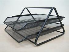 2 Tier Silver / Black Metal Wire Mesh Document Tray Organizer Filing home Office