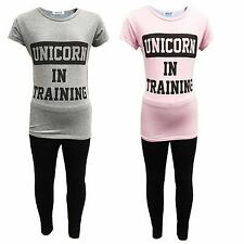 Girls 2 Piece Unicorn in Training T-Shirt & Legging Set Kids Outfit 5-12 Years