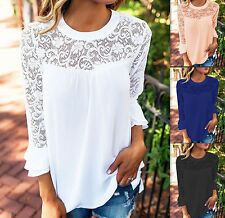 Women's fashion long-sleeve hollow lace chiffon Blouse tops casual T-shirt