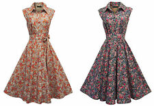 New Orange or Blue Retro Vtg 1930's 1940's Shirt Tea Dress in Ditsy Floral Print