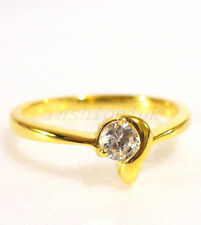 24K Yellow Gold Plated Clear CZ Cubic Engagement Birthday Xmas Ring Size O M Q
