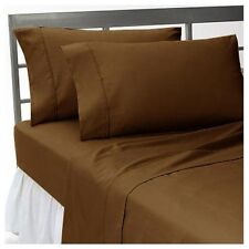 DUVETS/FITTED/FLAT/PILLOW 1000 TC EGYPTIAN COTTON ALL SIZE CHOCOLATE SOLID