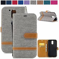 Dual Color Flip Wallet Leather Card Kickstand Cover Case For Motorola Moto G4 G5