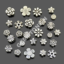 Tibetan Silver Carved Flower Round Coin Connector Space Charm Craft Beads