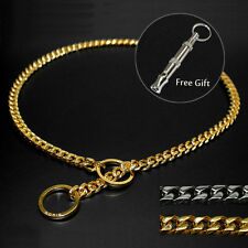 Stainless Steel P Choker Dog Chain Collars Slip Pet Dog Show Collars Gold Silver