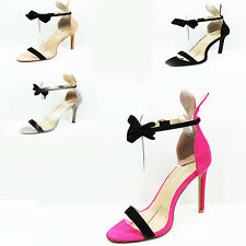 WOMENS LADIES STRAPPY HIGH STILETTO HEEL ANKLE STRAP BOW SANDALS SHOES SIZE 3-8