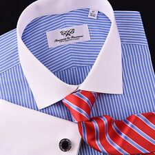 Mini Blue Stripes Formal Business Striped Dress Shirt White French Cuff Luxury