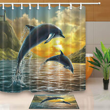 """Two dolphins jumping out of sea Shower Curtain Waterproof Fabric & 12 Hooks 71"""""""