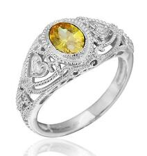 Art Deco Vintage Inspired Oval Yellow CZ Filigree Ring Sterling Silver