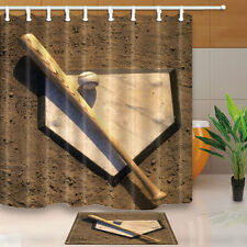 Baseball and home plate Shower Curtain Bedroom Waterproof Fabric & 12 Hooks new