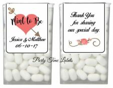 56 Coral Heart Mint to Be Wedding Favor Tic Tac Labels Stickers Wrappers