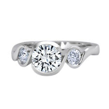 1.00 Ct Round Channel Set Three Stone Gemstone Ring Solid 14K White Gold