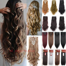 US Fashion Clip In Hair Extensions Synthetic Full Head Look As Remy Human Hair @