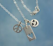 Peace Love + Happiness Sterling Silver Charm Necklace - smiley face, peace sign