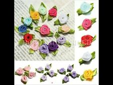 50Pcs Ribbon Rose DIY Wedding Flower Satin Decor Bow Appliques Craft Sewing