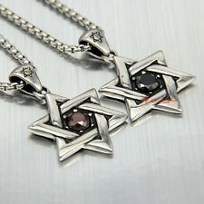 Stainless Steel Star of David Ruby Red/Black CZ Necklace Pendant Unisex Charm