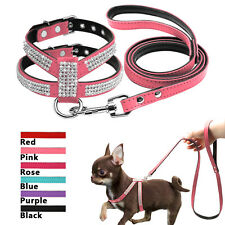 Rhinestone Suede Leather Padded Puppy Dog Harness and Leash Bling for Small Dogs