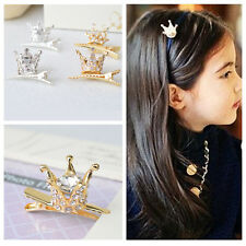 Cute Children Girl Hair Clips Rhinestone Crystal Crown Hairpin Princess Barrette