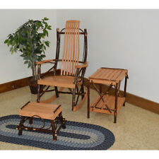 A&L FURNITURE CO. Hickory Rocking Chair with Foot Stool and End Table Set